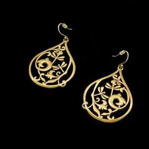 VTG Art Nouveau Style Brass Drop Dangle Earrings
